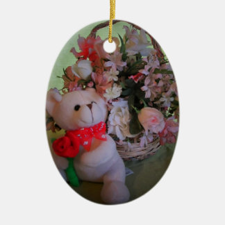 Teddy Bear and flowers Ceramic Ornament