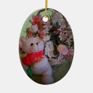 Teddy Bear and flowers Ceramic Ornament
