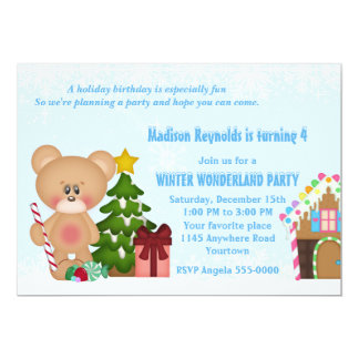 Teddy Bear and Gingerbread House Winter Birthday Card