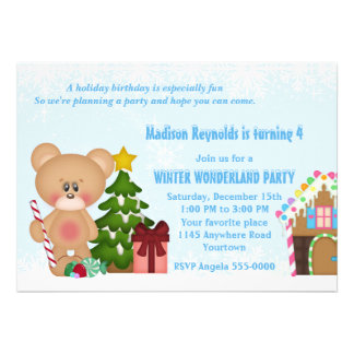 Teddy Bear and Gingerbread House Winter Birthday Custom Announcements