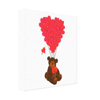 Teddy bear and  heart balloons stretched canvas print