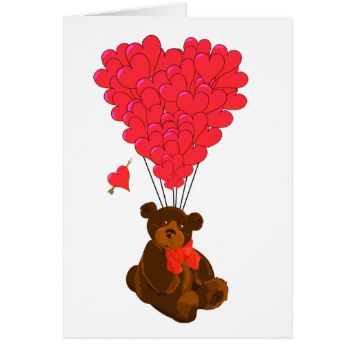 Teddy bear and  heart balloons stationery note card
