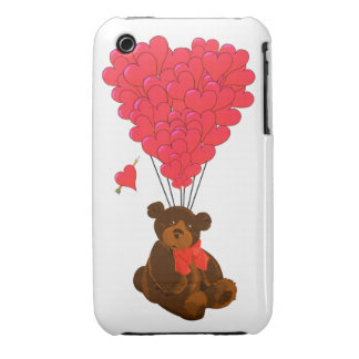 Teddy bear and  heart balloons Case-Mate iPhone 3 case