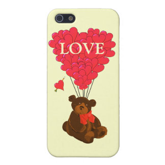 Teddy bear and heart balloons cover for iPhone SE/5/5s