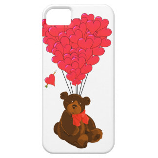 Teddy bear and  heart balloons iPhone SE/5/5s case