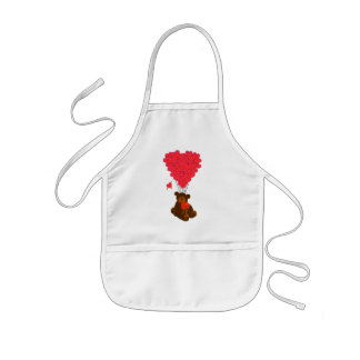 Teddy bear and  heart balloons kids' apron