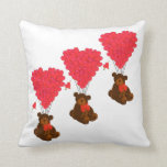 Teddy bear and  heart balloons pillow