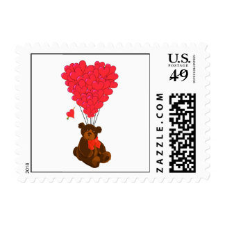 Teddy bear and heart balloons stamp