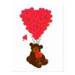Teddy bear and  heart balloons postcard