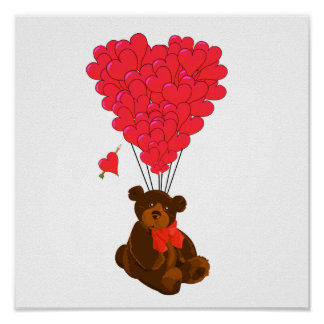Teddy bear and  heart balloons poster