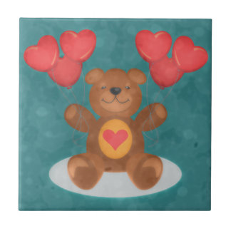 Teddy Bear And Heart Balloons Small Square Tile