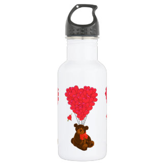 Teddy bear and  heart balloons stainless steel water bottle