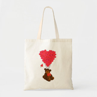 Teddy bear and  heart balloons tote bag