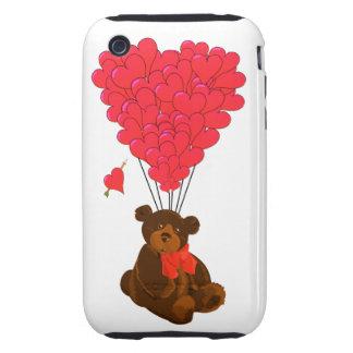 Teddy bear and  heart balloons tough iPhone 3 cover