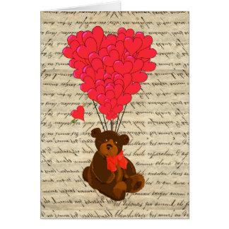 Teddy bear and heart card