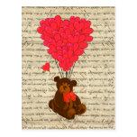 Teddy bear and heart post card