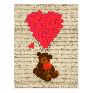 Teddy bear and heart postcard