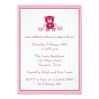 Teddy Bear and Hearts-Valentine's Day Party Invite