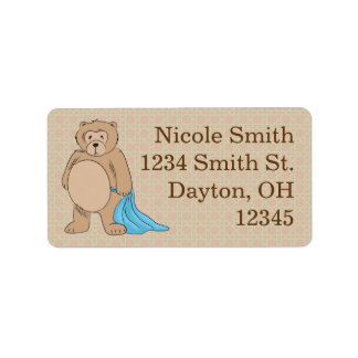 Teddy Bear and His Blanket Personalized Address Labels