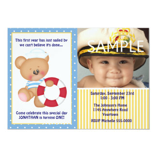 Teddy Bear and Life Preserver Photo First Birthday Personalized Invites
