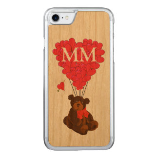 teddy bear and love heart carved iPhone 7 case