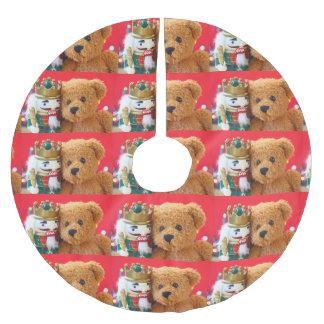 Teddy bear and nutcracker brushed polyester tree skirt