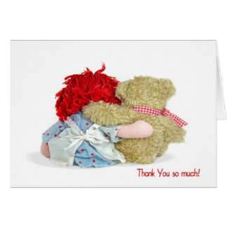 Teddy Bear and Rag Doll Thank You Greeting Cards