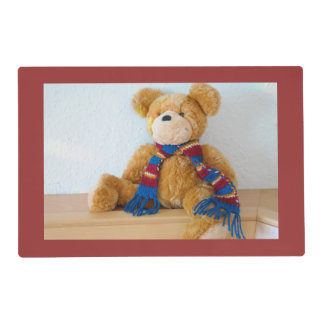 Teddy Bear and Scarf Dark Red Laminated Placemat