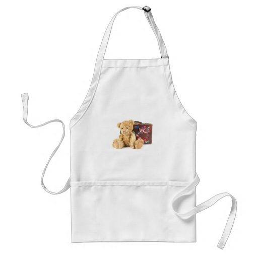 teddy bear and vintage old suitcase with world sti apron