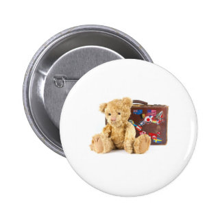 teddy bear and vintage old suitcase with world sti 2 inch round button