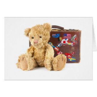 teddy bear and vintage old suitcase with world sti greeting card