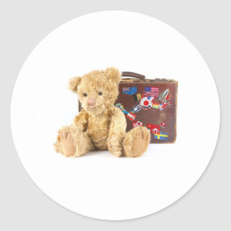 teddy bear and vintage old suitcase with world sti classic round sticker