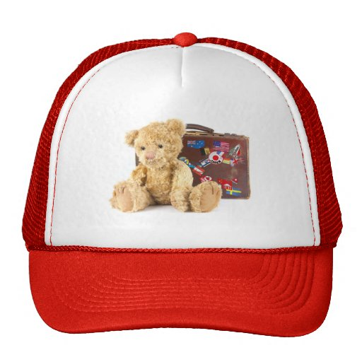 teddy bear and vintage old suitcase with world sti trucker hat