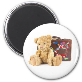 teddy bear and vintage old suitcase with world sti magnet