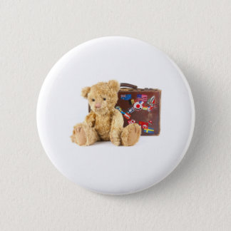 teddy bear and vintage old suitcase with world sti pinback button