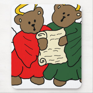 Teddy Bear Angels in Red and Green Choir Robes Mouse Pad