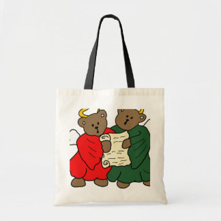 Teddy Bear Angels in Red and Green Choir Robes Tote Bag