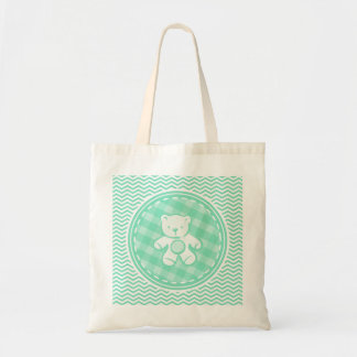 Teddy Bear; Aqua Green Chevron Bag