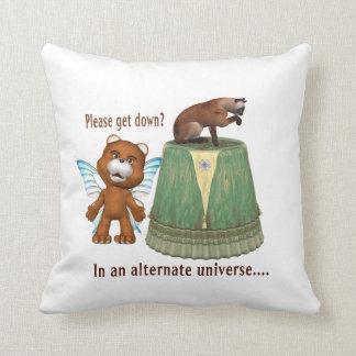 teddy bear asking siamese off table txt alternate throw pillow