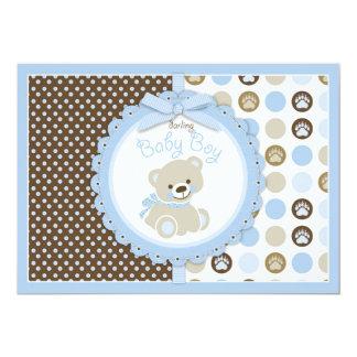 """Teddy Bear Baby Boy Baby Shower Blue 5"""" X 7"""" Invitation Card"""