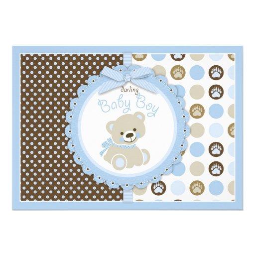 teddy bear baby boy baby shower blue invitations zazzle