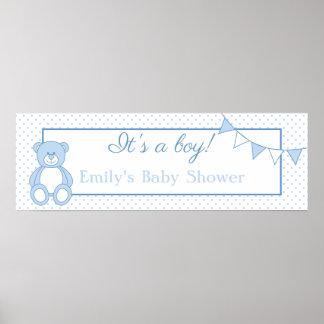 Teddy Bear Baby Boy Banner Poster
