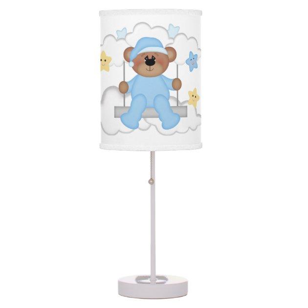 Picture of: Teddy Bear Baby Boy Moon Stars Kids Nursery Room Table Lamp Zazzle Com