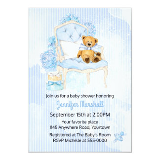 Teddy Bear Baby Boy Shower Invitation