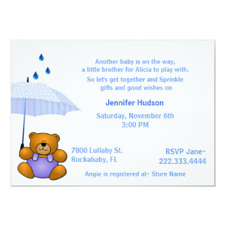 "Teddy Bear Baby Boy Sprinkle Shower Invitation 5"" X 7"" Invitation Card"