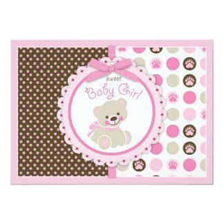 Teddy Bear Baby Girl Baby Shower Pink Card