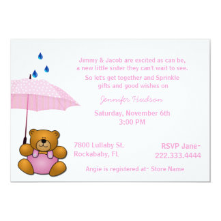 "Teddy Bear Baby Girl Sprinkle Shower Invitation 5"" X 7"" Invitation Card"