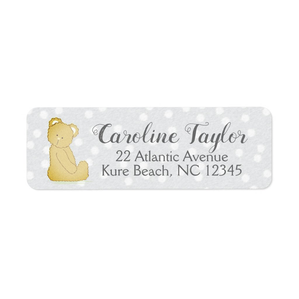 Teddy Bear Baby Shower Address Label gray & brown