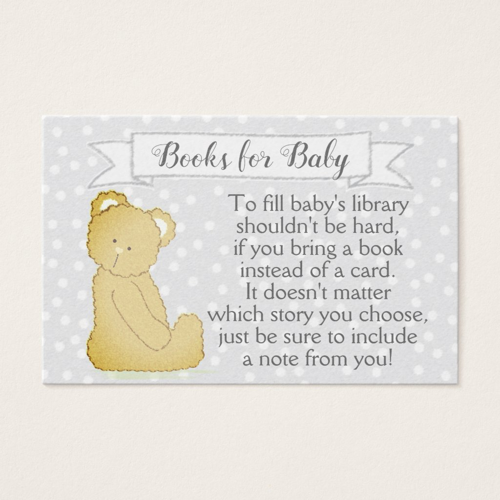 Teddy Bear Baby Shower Book Request Card