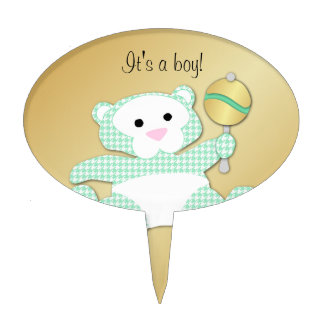Teddy Bear Baby Shower  Cupcake Toppers Mint Cake Topper